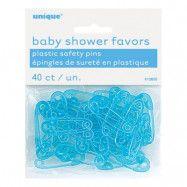 Babyshower Säkerhetsnålar Blå i Plast - 40-pack