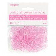 Babyshower Säkerhetsnålar Rosa i Plast - 40-pack