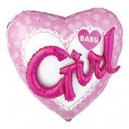 Folieballong Girl Hjärta Rosa