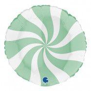 Folieballong Swirly Vit/Mattgrön -  45 cm