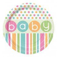 Pappersassietter Babyshower Pastell - 8-pack