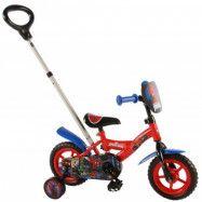 Spiderman Barncykel 10 tum med stödhjul & cykelstång