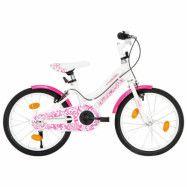 vidaXL Barncykel 18 tum rosa och vit