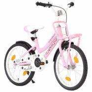 vidaXL Barncykel med frampakethållare 18 tum rosa och svart