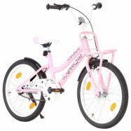 vidaXL Barncykel med frampakethållare 20 tum rosa och svart