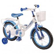 """Volare, Barncykel med stödhjul - Paisley 14""""vit&blå"""