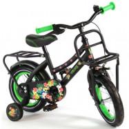 """Volare, Barncykel med stödhjul -Tropical 12""""svart&grön"""