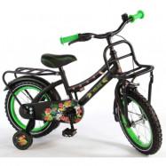 """Volare, Barncykel med stödhjul -Tropical 14""""svart&grön"""