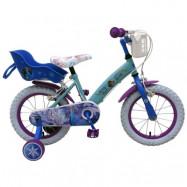 """Volare Disney Frozen, Barncykel med stödhjul&handbromsar 14""""ljusblå"""