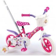 """Volare Disney Minnie, Barncykel med stång&stödhjul 10""""rosa"""