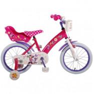 """Volare Disney Minnie, Barncykel med stödhjul 16""""rosa"""