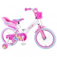 """Volare Disney Princess, Barncykel med stödhjul 16""""rosa"""