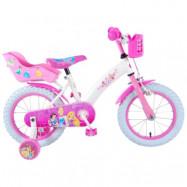"""Volare Disney Princess, Barncykel med stödhjul 14""""vit&rosa"""