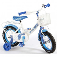 """Yipeeh, Barncykel med stödhjul - Super 12""""vit&blå"""