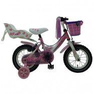 """Yipeeh, Barncykel med stödhjul&handbroms - Rose 12""""rosa"""