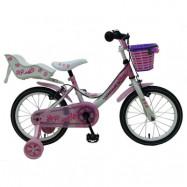 """Yipeeh, Barncykel med stödhjul&handbromsar - Rose 16""""rosa"""