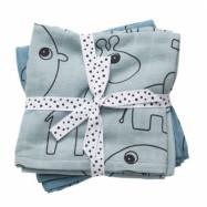 Done By Deer - Elefant Muslinfilt 70x70 cm 2-pack (Ljusblå)