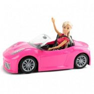 Docka med rosa leksaksbil