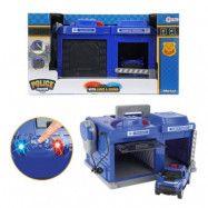 Polisstation och leksaksbil med ljus och ljud