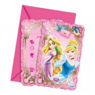 Inbjudningskort Disney Prinsessor - 6-pack