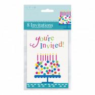 Inbjudningskort Födelsedagstårta - 8-pack