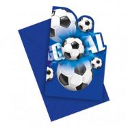 Inbjudningskort Fotboll Blå - 6-pack