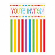 Inbjudningskort Rainbow - 8-pack
