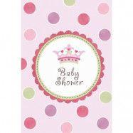 Little Princess Inbjudningskort Babyshower 8 st