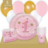 Kalaspaket Little Pink Star 1 år Enkel 8 pers