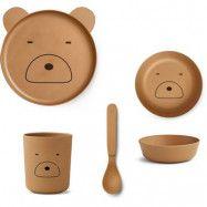 Liewood servis Bamboo box set, Mr Bear mustard