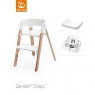 Stokke Steps matstol och babysits + bricka
