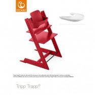 Stokke Tripp Trapp matstol i bok&babyset/bygel + bricka