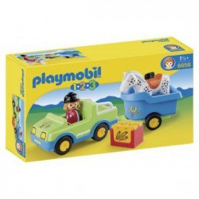 Playmobil 1.2.3 - Bil med hästsläp 6958