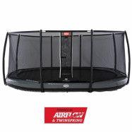 BERG Grand Elite Nedgrävbar Studsmatta 520 Grå + Säkerhetsnät Deluxe