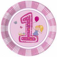 Decorata Min första födelsedag, RosaTallrik 23 cm 8 st