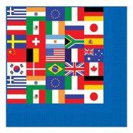 Servetter Internationella Flaggor - 16-pack