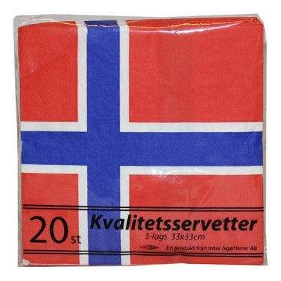 Servetter Norska Flaggan - 20-pack