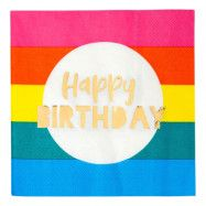 Servetter Rainbow Happy Birthday - 16-pack