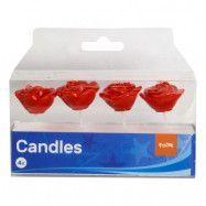 Tårtljus Rosor Röda - 4-pack