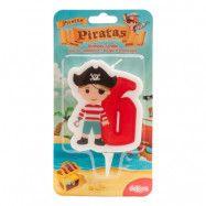Tårtljus Siffra Pirat - 6 år