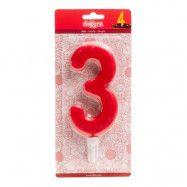 Tårtljus Siffra Röd - Siffra 3
