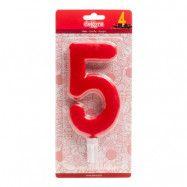 Tårtljus Siffra Röd - Siffra 5