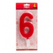 Tårtljus Siffra Röd - Siffra 6