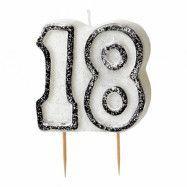 Tårtljus Födelsedag Silver - Siffra 18
