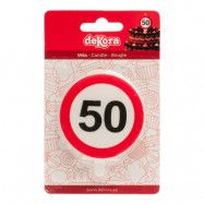 Tårtljus Trafikskylt - 50