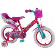 """Volare Trolls, Barncykel med stödhjul 16""""rosa korg"""